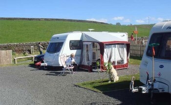 Tents pitched on hardstanding ground