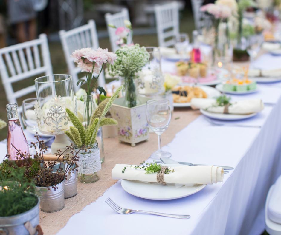 Wedding outdoor dining set up